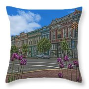 Spring Tulips Downtown Georgetown Throw Pillow
