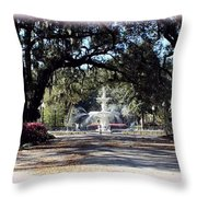 Spring Walk Through Forsyth Park Throw Pillow