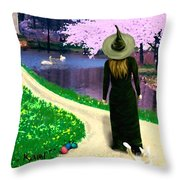 Spring Witch Throw Pillow