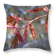 Springtime Japanese Maple Leaves Throw Pillow