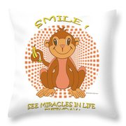 Spunky The Monkey Throw Pillow by John Keaton