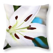 Square Lily On Blue Throw Pillow