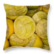 Squeezed Key Lime Halves Throw Pillow