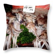 Squid For Sale Throw Pillow