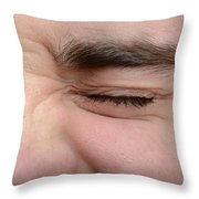 Squinting Eyes Throw Pillow