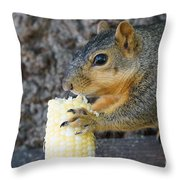 Squirrel Holding Corn Throw Pillow