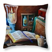 Srb Candlelit Library Throw Pillow