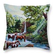 Srb Wild Horses Throw Pillow