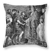St. Ambrose & Theodosius Throw Pillow