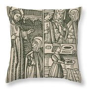 St. Catherine, Italian Philosopher Throw Pillow by Science Source
