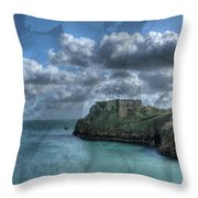 St Catherines Rock Tenby With A Shell Texture Throw Pillow