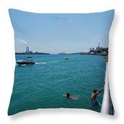 St. Clair River Boardwalk Throw Pillow