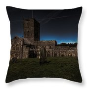 St Davids Cathedral Pembrokeshire Dusk Throw Pillow