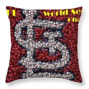 St. Louis Cardinals World Series Bottle Cap Mosaic Throw Pillow