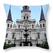 St Louis Cathedral And Fountain Jackson Square French Quarter New Orleans Accented Edges Digital Art Throw Pillow
