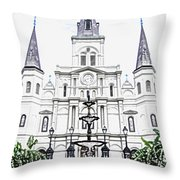 St Louis Cathedral And Fountain Jackson Square French Quarter New Orleans Colored Pencil Digital Art Throw Pillow