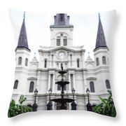 St Louis Cathedral And Fountain Jackson Square French Quarter New Orleans Diffuse Glow Digital Art Throw Pillow