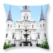 St Louis Cathedral And Fountain Jackson Square French Quarter New Orleans Film Grain Digital Art Throw Pillow