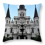St Louis Cathedral And Fountain Jackson Square French Quarter New Orleans Fresco Digital Art Throw Pillow