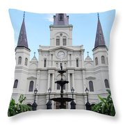 St Louis Cathedral And Fountain Jackson Square French Quarter New Orleans  Throw Pillow