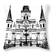 St Louis Cathedral And Fountain Jackson Square French Quarter New Orleans Stamp Digital Art Throw Pillow