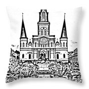 St Louis Cathedral On Jackson Square In The French Quarter New Orleans Photocopy Digital Art Throw Pillow