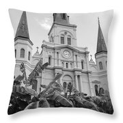 St Louis Cathedral Rising Above Palms Jackson Square French Quarter New Orleans Black And White Throw Pillow