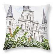St Louis Cathedral Rising Above Palms Jackson Square New Orleans Colored Pencil Digital Art Throw Pillow