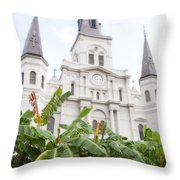 St Louis Cathedral Rising Above Palms Jackson Square New Orleans Diffuse Glow Digital Art Throw Pillow
