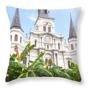 St Louis Cathedral Rising Above Palms Jackson Square New Orleans Film Grain Digital Art Throw Pillow