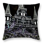 St Louis Cathedral Rising Above Palms Jackson Square New Orleans Glowing Edges Digital Art Throw Pillow