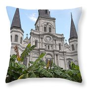 St Louis Cathedral Rising Above Palms Jackson Square New Orleans Poster Edges Digital Art Throw Pillow