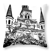 St Louis Cathedral Rising Above Palms Jackson Square New Orleans Stamp Digital Art Throw Pillow