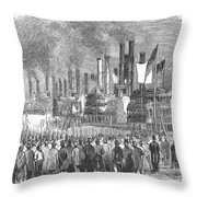 St. Louis: Steamboats, 1857 Throw Pillow