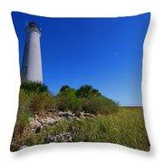 St Marks Lighthouse Along The Gulf Coastst Throw Pillow