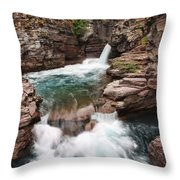 St. Mary Falls Glacier National Park Throw Pillow