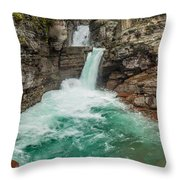 St. Mary Falls In Spring Throw Pillow