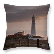 St Marys Lighthouse After Sunrise Throw Pillow