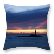St Marys Lighthouse Sunrise Throw Pillow
