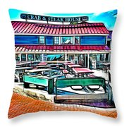 St Michaels Crab And Steak House Throw Pillow