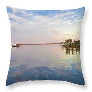 St Michaels Harbor Throw Pillow
