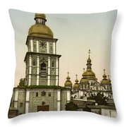 St Michaels Monastery In Kiev - Ukraine Throw Pillow