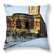 St Modwen's Church - Burton - In The Snow Throw Pillow