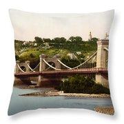 St Nicholas Bridge In Kiev - Ukraine - Ca 1900 Throw Pillow