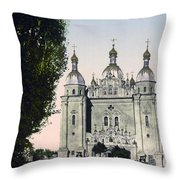 St Paul And St Peter Cathedrals In Kiev - Ukraine - Ca 1900 Throw Pillow