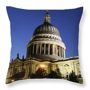 St Pauls Cathedral At Dusk, Exterior Throw Pillow