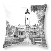 St. Simons Lighthouse Throw Pillow