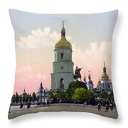 St Sophia Cathedral In Kiev - Ukraine - Ca 1900 Throw Pillow