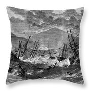 St. Thomas: Hurricane, 1867 Throw Pillow