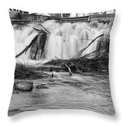 St Vrain River Waterfall Slow Flow Bw Throw Pillow